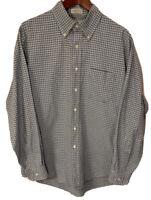 LL Bean Men's Large 16.5 35 Blue/Green Plaid Checks L/S Button Down Shirt USA