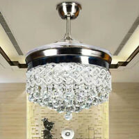 "Crystal Retractable Ceiling Fan Light 42"" Luxury LED Chandelier Remote Control"