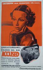 1937 ACCUSED  DOUGLAS FAIRBANKS & DOLORES DEL RIO PROMO FILM TRADE ADVERT/ POSTE