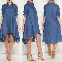 Fashion Women Blue Casual Sleeve Mini Shirt Long Pocket Denim Loose High Dress