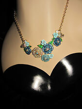 Betsey Johnson SKULLS AND ROSES BLUEISH PAVE NECKLACE
