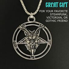 Satanic necklace inverted pentagram baphomet witch wicca pagan gothic pentacle