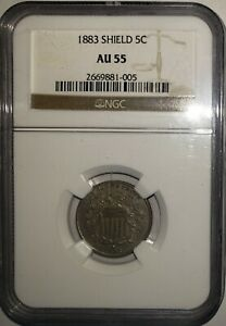 1883 Shield Nickel 5c~ Better Year  Phili Mint ~ Great Eye Appeal ~ NGC AU55