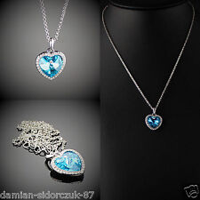 Herz des Ozeans Himmelblau Anhänger Hals-Kette versilbert Geschenketui/ 148