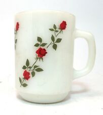 Fire King Milk Glass Coffee Mugs Spiraling Roses Cup Made In USA Anchor Hocking