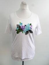 Frank Walder Imprimé Rose T-shirt Blanc Euro 44 Femmes Taille UK 18 BOX85 00 N