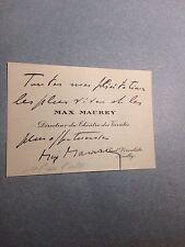 Max Maurey Auteur directeur théâtre carte de visite autographe manuscript Berton