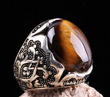 Tigers Eye Stone Turkish Jewelry Solid 925 Sterling Silver Men Ring ALL SİZE 088
