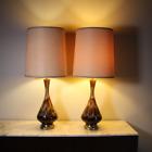Vintage pair glass finish drip glaze ceramic lamps mid century modern