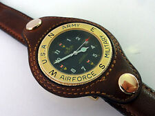 RARE Croton mens BOMBARDIER watch with USA Army Airforce Steampunk /new battery!