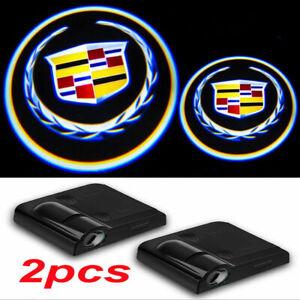 2Pcs Cadillac LED Wireless Ghost Shadow Projector Logo Courtesy Door Step Light