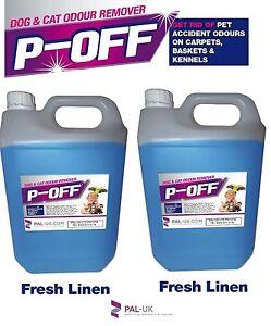 2x5L POFF Fragranced Kennel/Cattery Disinfectant Cleaner Deodoriser Fresh Linen