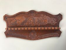 Vintage Wood Collectible Spoon Rack Embossed Carved Pressed Cornucopia Holds 16