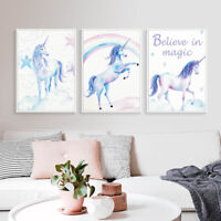 Set Of 3 Unicorn Art Print Cartoon Animal Canvas Painting Kids Room Wall Poster