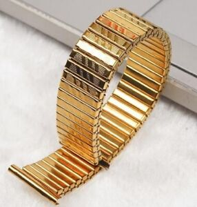 Gold Expanding Stainless Steel Watch Strap Expandable Stretch Var Sizes Band W8