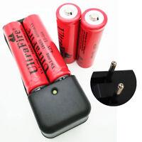 4 X 18650 Batterie 6000mAh 3.7V-4.2V Li-ion Rechargeable Battery+EU Plug Charger
