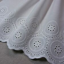 1 yd Vintage Style Embroidered Cotton  Lace Fabric White 20cm Wide Quilting F/S
