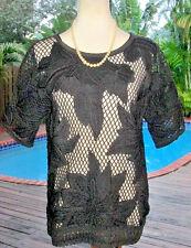 Boho OverSize Isabel Marant Blk Crochet Embroidered Calice Top Pullover M FR40 8