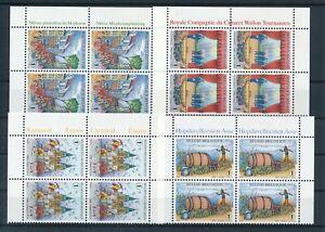 [G44536] Belgium 2008 4 good blocks of 4 Very Fine MNH stamps