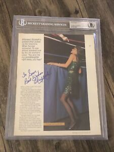 MISS ELIZABETH SIGNED AUTOGRAPHED WRESTLING MAGAZINE PHOTO BECKETT BAS SLABBED