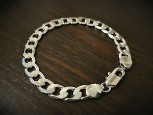 Men's chunky 925 sterling silver bracelet chain link **Free gift bag included**
