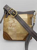 Authentic Coach Leather & Monogram Patchwork Crossbody Bag Handbag Purse EUC