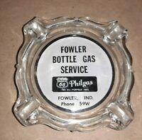 Vintage Glass Phillips 66 Ashtray Fowler Indiana Bottle Gas Philgas Phone 59w