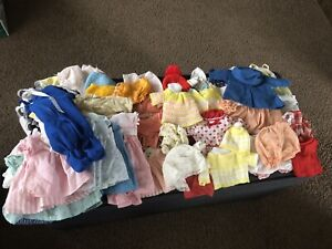 Huge Vintage Baby Doll Clothes Mixed Lot Bonnets Outfits Dresses Pants Homemade