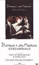 Florence + the Machine PROMO CARD CEREMONIALS 2011 Orginal New MINT RARE Cheap!