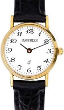 Ladies 9ct Gold Wristwatch with Standard Numerals - Black Leather Strap - Gift
