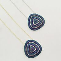 Sterling Silver Gold Cubic Zirconia Turquoise Blue Large Evil Eye Mati Necklace
