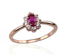 585 Russian 14ct Rose Gold Delicate Cluster Ring Size I-15.5 gift boxed