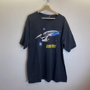 Vintage 90s Star Trek Enterprise Black Graphic Print Single Stitch T-shirt Sz XL
