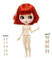 1/6 NUDE Blythe Doll Joint Body MATTE Face Red Hair Big Breast Toy Gift BJD ICY