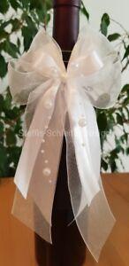 10 Schleifen Antennenschleifen Autoschleife Hochzeitsdeko Autoschmuck weiß Perle
