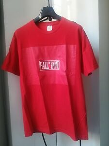Tee-shirt FAME rouge, impression poitrine blanche, col rond, taille L, NEUF