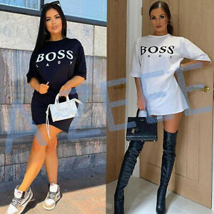 New Ladies Short Sleeve BOSS LADY T-Shirt Women's Oversized Summer Mini Dress FD