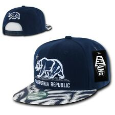 Navy California Republic Cali Zebra Print Flat Bill Snapback Snap Back Cap Hat