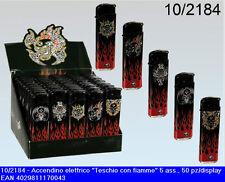 Confezione con 50 accendini neri decorati con teschio