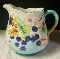 Antique Thomes Bavarian Hand Painted Cider Pitcher/Jug Artist Signed Blackberry