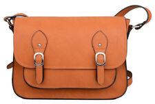 Tan Brown Faux Leather Satchel Shoulder Bag School College Work