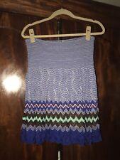 Missoni Chevron Stripe Zig Zag Blue White Brown Green Pink Skirt 44 EUC