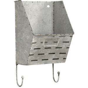 Aged Metal Wall-Hanging Pocket Mail & Letter Box Organizer Holder with Hooks