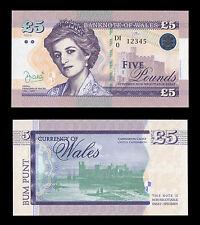 Wales (Great Britain) 5 Pounds 2016 UNC SPECIMEN Test Note Banknote - Diana