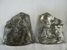Chocolate Mold Rabbits Sitting Each Side of Basket Collectible Antique Vintage