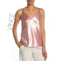 NWT Vince Blush Pink Silky Plunge Cami Tank Top Women's Extra Large XL MSRP $200