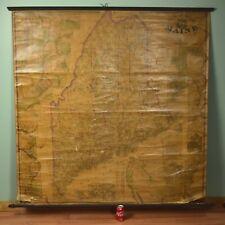 Antique Civil War Era 1862 Maine State Wall Map H.F. Walling & J. Chace Jr.
