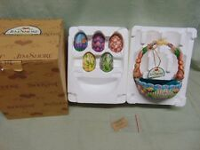 "Jim Shore Heartwood Creek ""Hunting Eggs, Finding Joy"" Easter Basket & 5 Eggs"