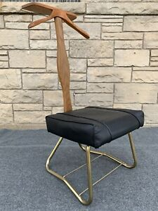 Mid Century Modern Setwell Ash & Gold Tone Valet Stand Buttler Chair Suit Rack