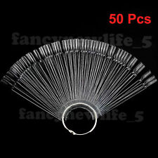 50 Clear False Nail Art Tip Stick Display Fan DIY Polish Practice Colour Design